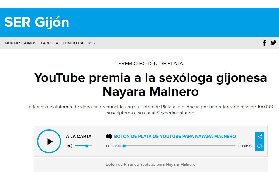 Publicación Cadena SER- Nayara Malnero Botón de Plata de Youtube